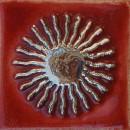 Sonne, rot-silber