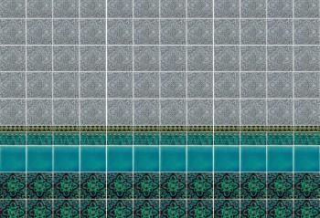 Wall Oriental Aqua Grey